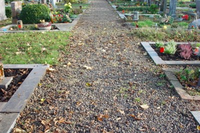 Difficult to access cemetery path that is not handicapped accessible
